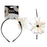 HEADBAND PLASTIC W/FLOWER & BEADS