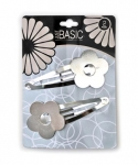 JUMBO SNAP CLIPS W/FLOWER (GOLD/SILVER) 2PK