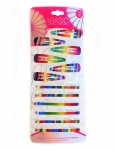 6PK SNAP CLIPS + 6PK BOBBY PINS SET - RAINBOW PRINT