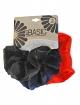 VELVET SCRUNCHIES WITH SATIN TRIM 3PK
