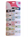 SNAP CLIPS PLASTIC WITH PRINTS 12PK