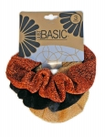 METALLIC VELVET SCRUNCHIES 3PK