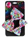 BOW ON CLIPS FLORAL PRINT 2PK
