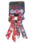 SCRUNCHIES WITH WIRE TAIL FLORAL PRINT 2PK