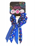 SCRUNCHIES WITH WIRE TAIL POLKA DOTS PRINT 2PK