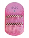 HAIR COMBS WITH STONES (CHECKERED) 2PK