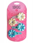 SNAP CLIPS WITH AB FLOWER 4PK