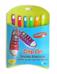 SILICONE CLIP-ON SHOELACES BRIGHT & PASTEL 6PK