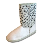 BOOTS W/FLOWER PRINTS- BLK, TAN/IVORY/D. GREY