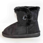 BOOTS W/FUR+ 1 BUTTON-BLK (K)